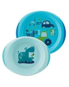 Chicco Baby's Dish Set 12M+ Σε Μπλε Χρώμα 2τμχ