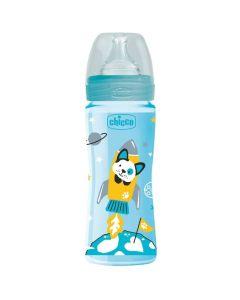 Chicco Μπιμπερό Πλαστικό Well-Being Με Θήκη Σιλικόνης Σε Σιέλ Χρώμα 4M+ 330ml