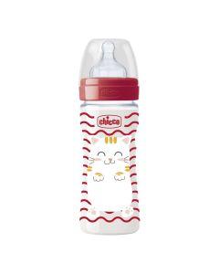 Μπιμπερό Πλαστικό Σιλικόνη 250ml, Pop Friends Special Edition, Κόκκινο