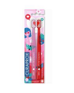 Curaprox Ultra Soft 5460 Duo Love Edition Πολύ Μαλακή Οδοντόβουρτσα Ροζ & Κόκκινο 2τμχ