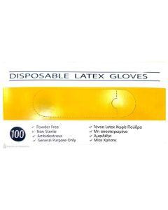 Disposable Latex Gloves Γάντια Latex Χωρίς Πούδρα Medium 100τμχ