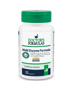 Doctor's Formulas Multi Enzyme Formula Συμπλήρωμα Διατροφής-Φόρμουλα που Διευκολύνει την Πέψη & Συμβάλλει στη Λειτουργία των Πεπτικών Ενζύμων 30 κάψουλες