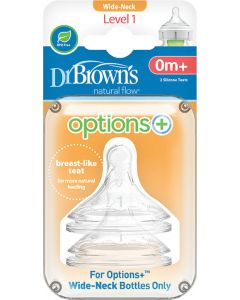 Dr. Brown's Options+ Θηλές Σιλικόνης Για Μπιμπερό Με Φαρδύ Λαιμό Επίπεδο 1 2τμχ