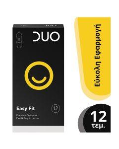 Duo Easy Fit Premium Condoms Προφυλακτικά Για Γρήγορη Κι Εύκολη Τοποθέτηση 12τμχ