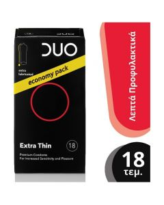 Duo Extra Thin Premium Condoms Λεπτά Προφυλακτικά Με Λιπαντικό Για Έντονη Αίσθηση Οικονομική Συσκευασία 18τμχ