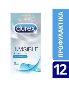 Durex Invisible Extra Sensitive Πολύ Λεπτά Προφυλακτικά 12Τμχ