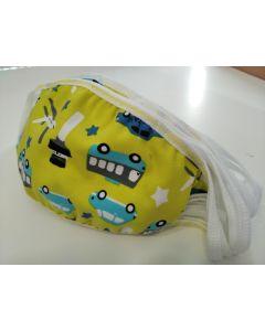 Παιδική Βαμβακερή Μάσκα Προσώπου Με Σχέδιο Αυτοκινητακι  (A4)  2τμχ