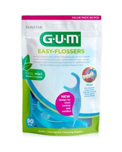 Gum Easy Flossers 890 Οδοντικό Νήμα Σε Διχάλες Cool Mint Ελαφρώς Κηρωμένο Με Γεύση Μέντας 90 Τεμάχια