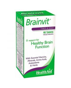 Health Aid Brainvit™ Συμπλήρωμα Διατροφής Για Τη Φυσιολογική Λειτουργία Του Εγκεφάλου 60 Φυτικές Ταμπλέτες