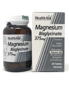 Health Aid Magnesium Bisglycinate 375mg & Vitamin B6 Χηλικό Μαγνήσιο & Βιταμίνη Β6 Για Τους Μυς & Το Νευρικό Σύστημα 60 ταμπλέτες