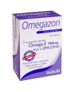 Health Aid Omegazon Omega-3 750Mg Ιχθυέλαιο Για Την Καλή Λειτουργία Της Καρδιάς Και Τον Έλεγχο Της Χοληστερίνης 60caps