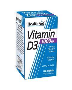 Health Aid Vitamin D3 1000iu Συμπλήρωμα Διατροφής Με Βιταμίνη D3 120 Φυτικές Ταμπλέτες