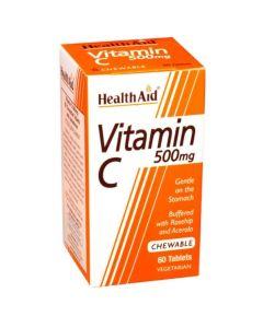 Health Aid Vitamin C Chewable 500mg  Μασώμενη Βιταμίνη C Με Γεύση Πορτoκάλι 60tabs