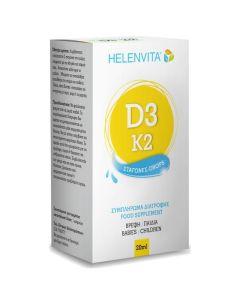 Helenvita Vitamin D3 & K2 Drops Φόρμουλα Πολυβιταμινών για Βρέφη & Παιδιά 20ml