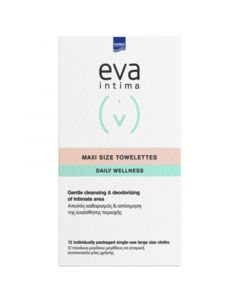 Intermed Eva Intima Maxi Size Towelettes Μαντηλάκια για Απαλό Καθαρισμό Της Ευαίσθητης Περιοχής 12τμχ