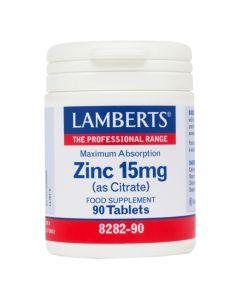 Lamberts Συμπλήρωμα Διατροφής Ψευδάργυρος Zinc As Citrate 15Mg Maximum Absorption 8282-90 90Tabs