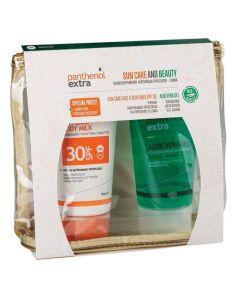 Medisei – Promo Panthenol Extra Sun Care Face and Body Milk Αντηλιακό για Πρόσωπο και Σώμα SPF30 150ml & Ενυδατικό Δροσιστικό Τζέλ Αλόης 150ml & Δώρο Νεσεσέρ