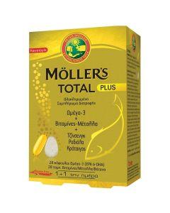 Moller's Total Plus Ολοκληρωμένο Συμπλήρωμα Διατροφής Ωμέγα-3 Με Βιταμίνες Και Μέταλλα 28 Caps+28 Tabs