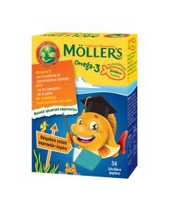 Moller's Παιδικά Ζελεδάκια Ωμέγα-3 Με Γεύση Πορτοκάλι-Λεμόνι 36 Ζελεδάκια