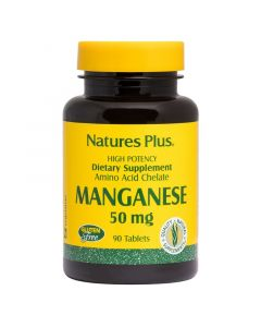 Natures Plus High Potency Manganese 50mg Συμπλήρωμα Με Μαγγάνιο 90 Tabs