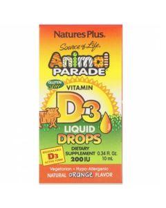Nature's Plus Animal Parade Vitamin D3 200IU Βιταμίνη D3 Πόσιμες Σταγόνες Με Γεύση Πορτοκάλι Για Παιδιά 10ml