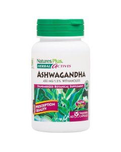 Natures Plus Herbal Actives Ashwagandha 450mg Με Φυσικό Εκχύλισμα Ashwagandha 60 Φυτικές Κάψουλες