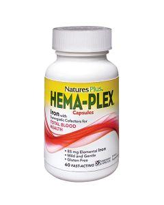 Natures Plus Hema-Plex Συμπλήρωμα Διατροφής Σιδήρου 60 Φυτικές Κάψουλες