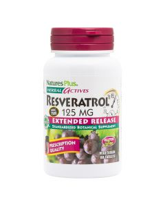 Natures Plus Resveratrol 125mg Extrended Release Ισχυρό Αντιοξειδωτικό 60 Ταμπλέτες