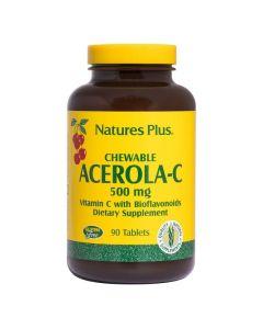 Nature's Plus Acerola-C 500Mg 90 Μασώμενες Ταμπλέτες