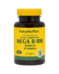 Natures Plus Mega B-100 Βιταμίνη Συμπλέγματος B - Υγεία Νευρικού Συστήματος 60 Tαμπλέτες