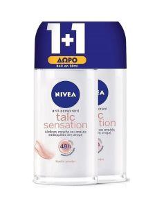 Nivea Πακέτο Promo Set 1+1 Δώρο Γυναικείο Αποσμητικό Roll On Talc Sensation 2x50ml