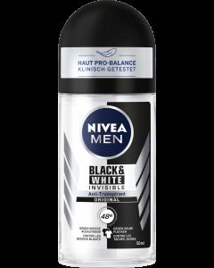 Nivea Men Αποσμητικό Black & White Invisible Original Roll On 48H 50ml