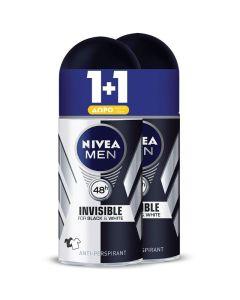 Nivea Men Πακέτο Promo Set Black & White Invisible Σετ 1+1 Δώρο Ανδρικό Αποσμητικό Roll On 2x50ml