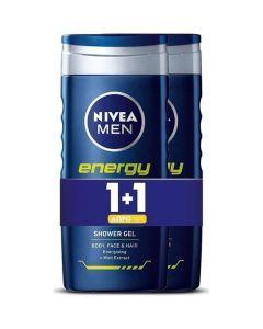 Nivea Men Energy Πακέτο Promo Set 1+1 Δώρο Ανδρικό Αφρόλουτρο Για Πρόσωπο, Σώμα & Μαλλιά 2x500ml