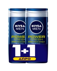 Nivea Men Power Fresh Πακέτο Promo Set 1+1 Δώρο Ανδρικό Αφρόλουτρο Για Πρόσωπο, Σώμα & Μαλλιά 2x500ml