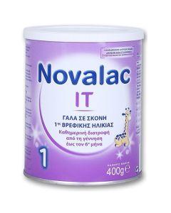 Novalac IT 1 Γάλα Σε Σκόνη Από Τη Γέννηση Έως Τον 6ο Μήνα Κατάλληλο Για Την Αντιμετώπιση Της Δυσκοιλιότητας 400Gr