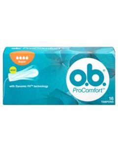 O.B. ProComfort Super Plus Ταμπόν Ενισχυμένης Απορροφητικότητας για Μεγάλη Ροή 16 τμχ