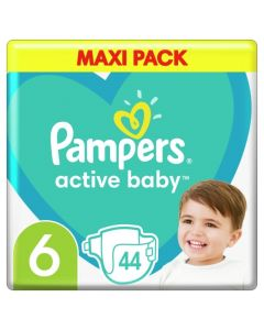 Pampers Active Baby Βρεφικές Πάνες No 6 (13-18Kg) Maxi Pack 44 Τμχ