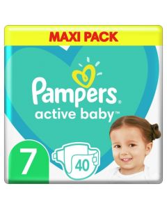 Pampers Active Baby Βρεφικές Πάνες No 7 (15+Kg) Maxi Pack 40 Τμχ