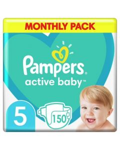 Pampers Active Baby Monthly Pack No 5 (11-16Kg) Βρεφικές Πάνες 150 τμχ
