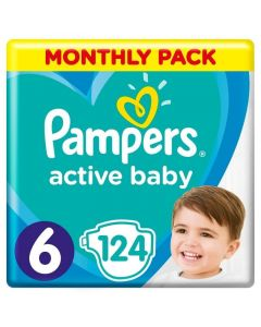 Pampers Active Baby Monthly Pack No6 (13-18Kg) Βρεφικές Πάνες 124 Τμχ   Dpharmacy.gr