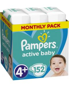 Pampers Active Baby No 4+ Monthly Pack (10-15Kg) Βρεφικές Πάνες 152 τμχ