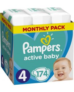 Pampers Active Baby No 4 Monthly Pack (9-14Kg) Βρεφικές Πάνες 174 τμχ