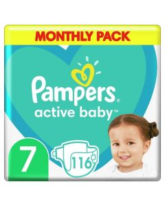 Pampers Active Baby Βρεφικές Πάνες No 7 (15+kg) Monthly Pack 116τμχ