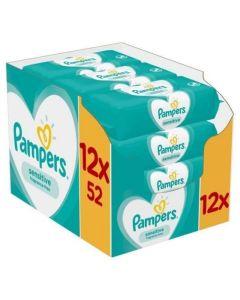 Pampers Sensitive Monthly Pack Wipes Μωρομάντηλα για το ευαίσθητο δερματάκι του μωρού 12 x 52 τεμ