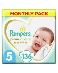 Pampers Premium Care No 5 Monthly Pack (11-16kg) Βρεφικές Πάνες 136τμχ | Dpharmacy.gr