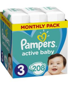 Pampers Active Baby No 3 (6-10kg) Monthly Box 208τμχ