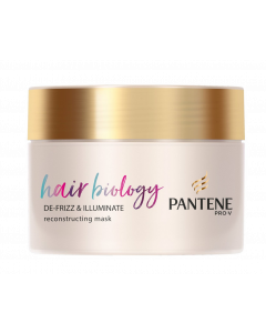 Pantene Hair Biology De-Frizz & Illuminate Reconstructing Mask Mάσκα Για Ξηρά & Βαμμένα Μαλλιά 160ml