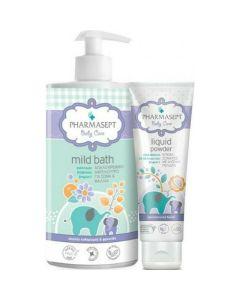 Pharmasept Πακέτο Promo Set Baby Mild Bath Απαλό Βρεφικό Αφρόλουτρο 1Lt & Δώρο Liquid Power Κρέμα Σώματος Με Φυσική Πούδρα 150ml