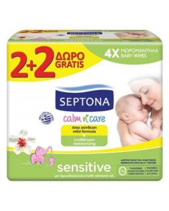 Septona Calm n Care Μωρομάντηλα Sensitive 2+2 Δώρο 64 τεμάχια
